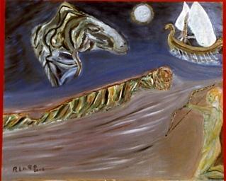 El viaje de Ulises Óleo sobre tabla 40x50